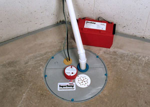 A sump pump system with a battery backup system installed in Coleys Point South